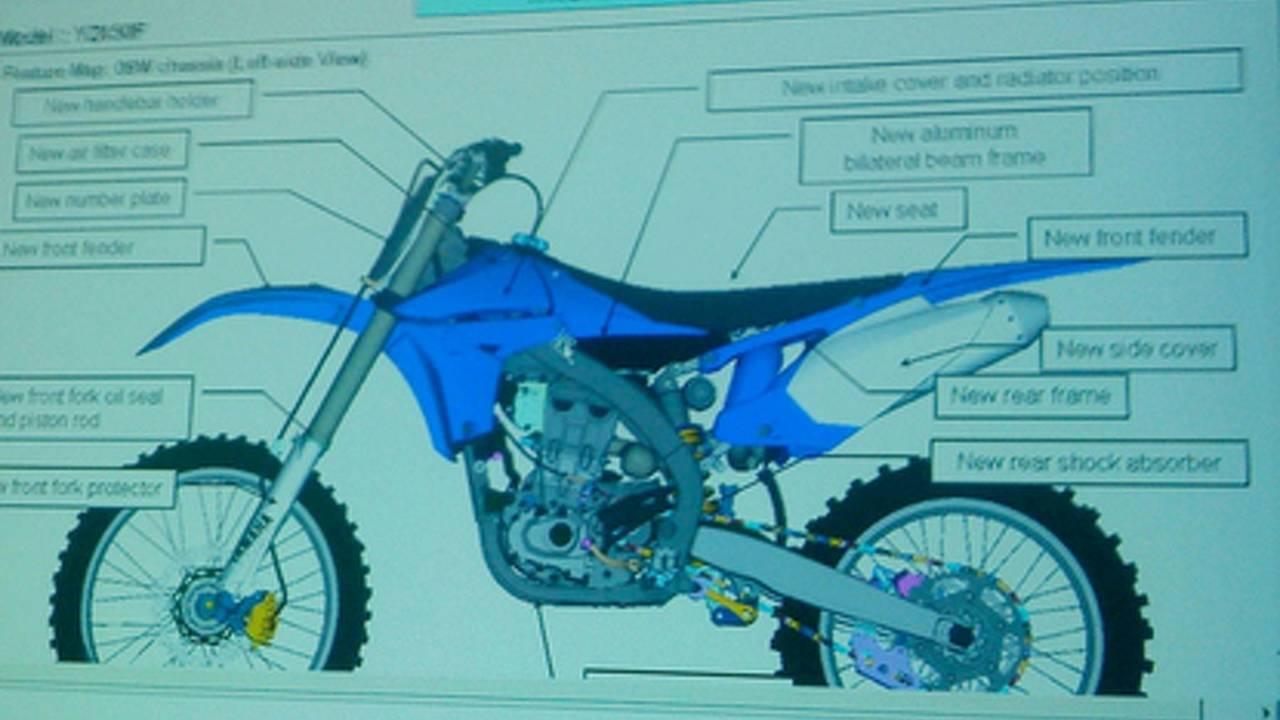 2010 Yamaha YZ450F leaked with reversed single-cylinder