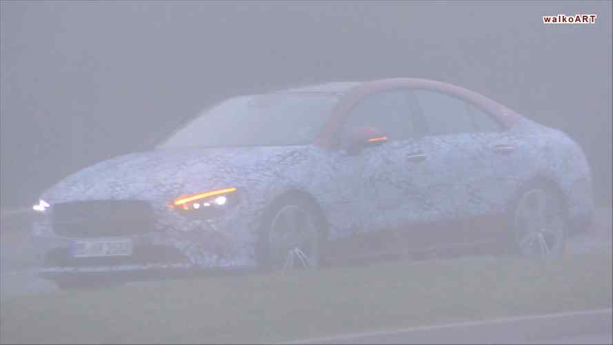 Fog and camouflage can't mask the new Mercedes CLA's stylish body