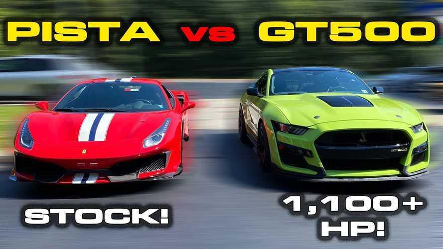 Videó: Öldöklő küzdelem egy 1100 lóerő feletti Mustang Shelby GT500 és egy Ferrari 488 Pista között