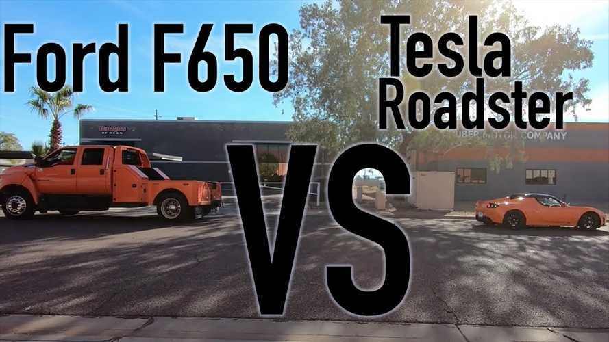 Watch Tesla Roadster Take On Ford F-650 Pickup Truck In Tug Of War Battle