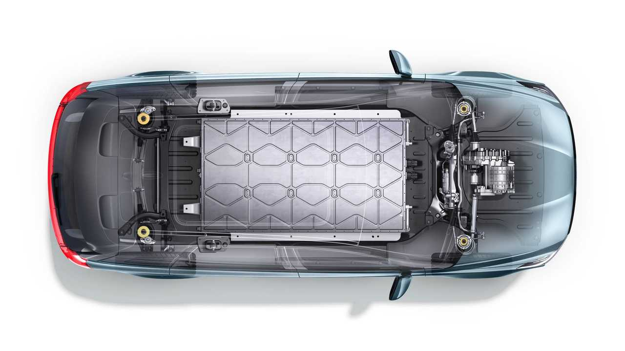 Una trasparenza di un'auto elettrica con il pacco batteria in vista