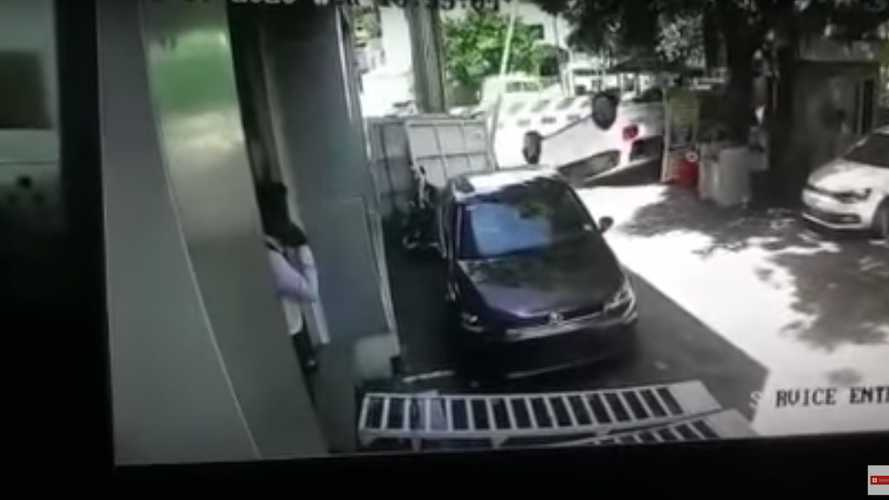 VW Polo driver flips car seconds after taking delivery
