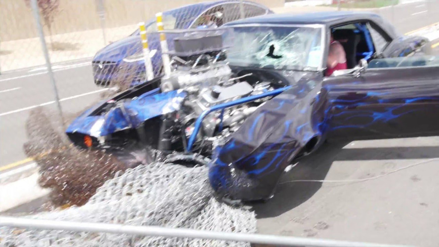 Chevrolet Camaro drag car crashes leaving Reno cars and coffee