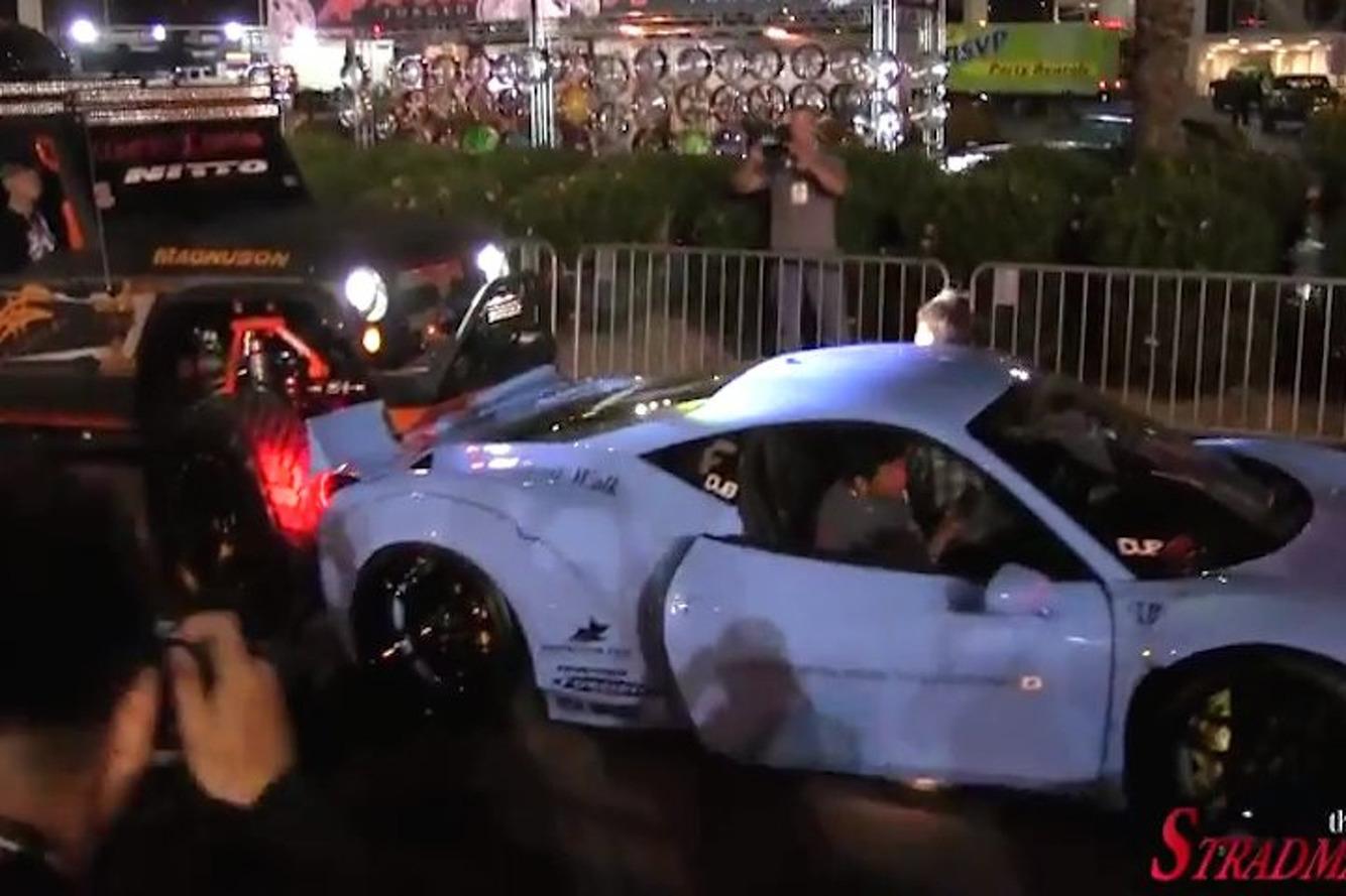 Watch This Jeep Smash into a Custom Ferrari at SEMA