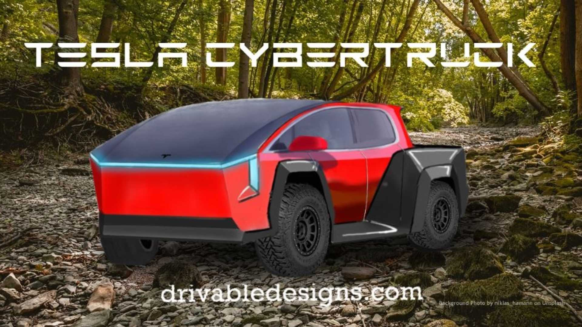 New Tesla Electric Pickup Truck Rendered In Rugged, Cyberpunk Fashion