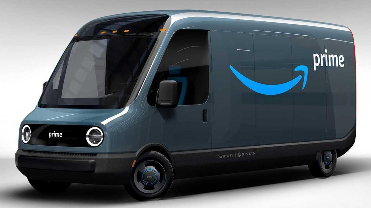 Rivian Amazon electric delivery truck van rendering