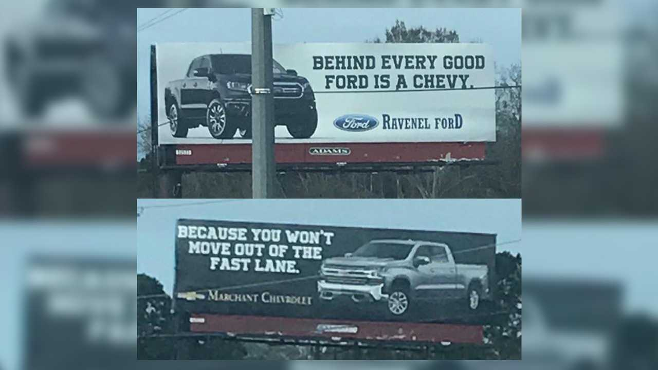 Ford Versus Chevy Billboard War