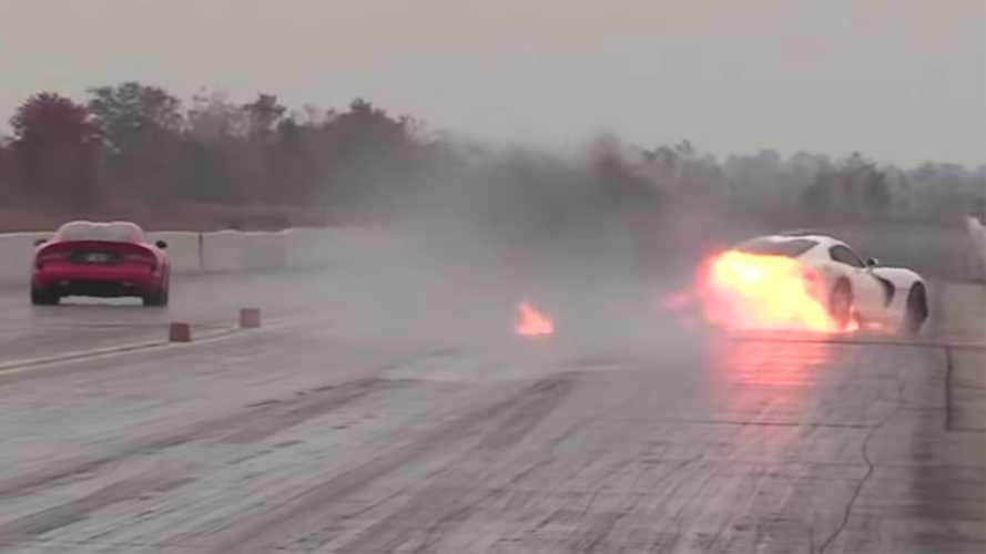 Dodge Viper Blows Engine In Drag Race Against Another Viper