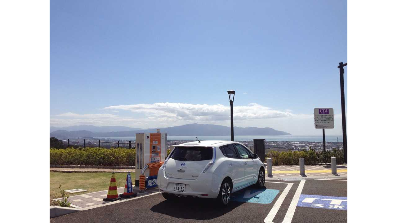 2013 Nissan LEAF Draws Electrons from CHAdeMO While Looking at the Blue Sky