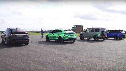 Tesla Model X Drag Races Urus, AMG G63, Range Rover Sport SVR