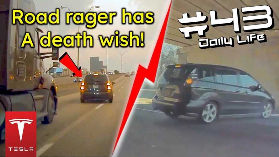 TeslaCam captures road rager cutting off, brake-checking a lorry