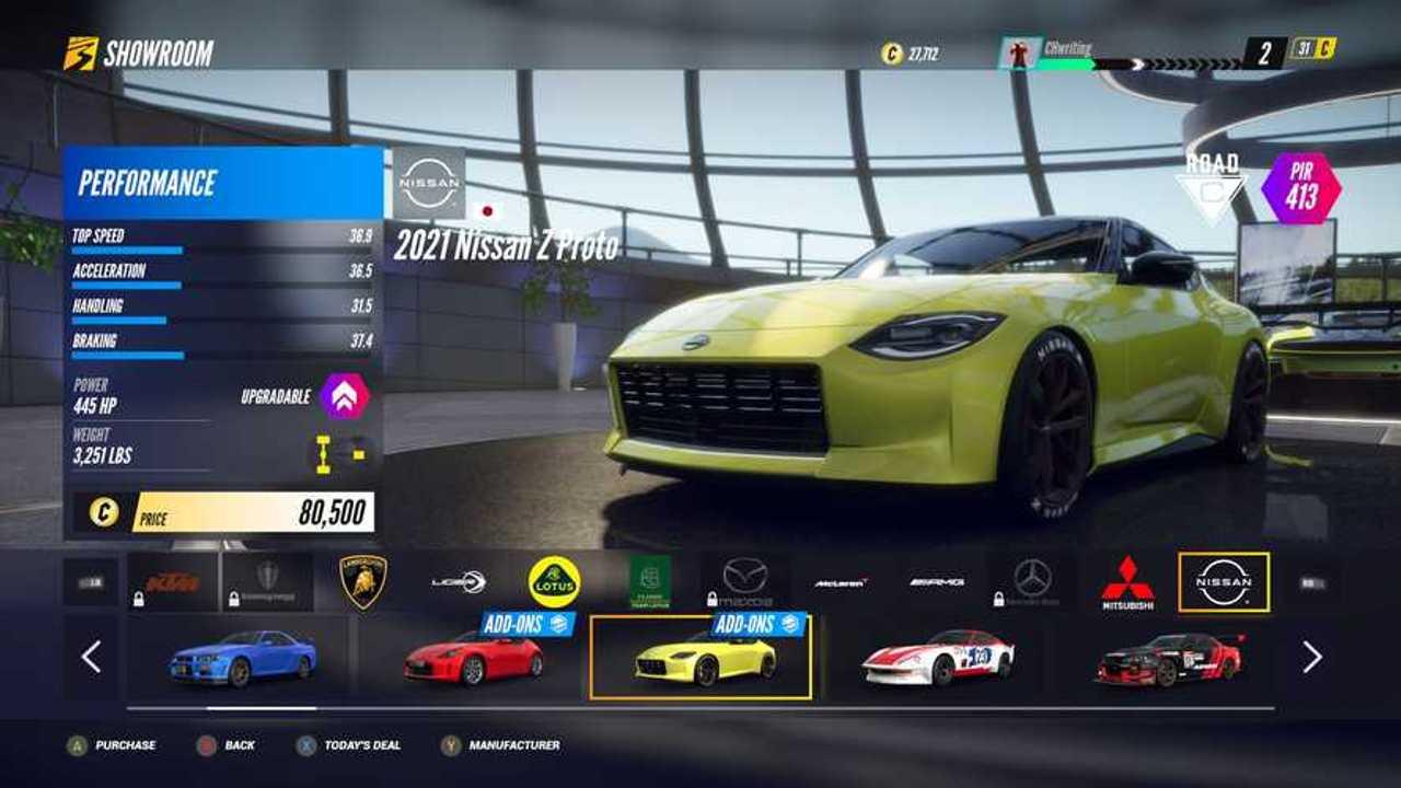 Nissan Z Proto konseptinin Project Cars 3'ten fotoğrafı.