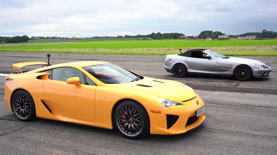 Lexus LFA drag races Mercedes SLR McLaren 722 Edition Roadster in UK