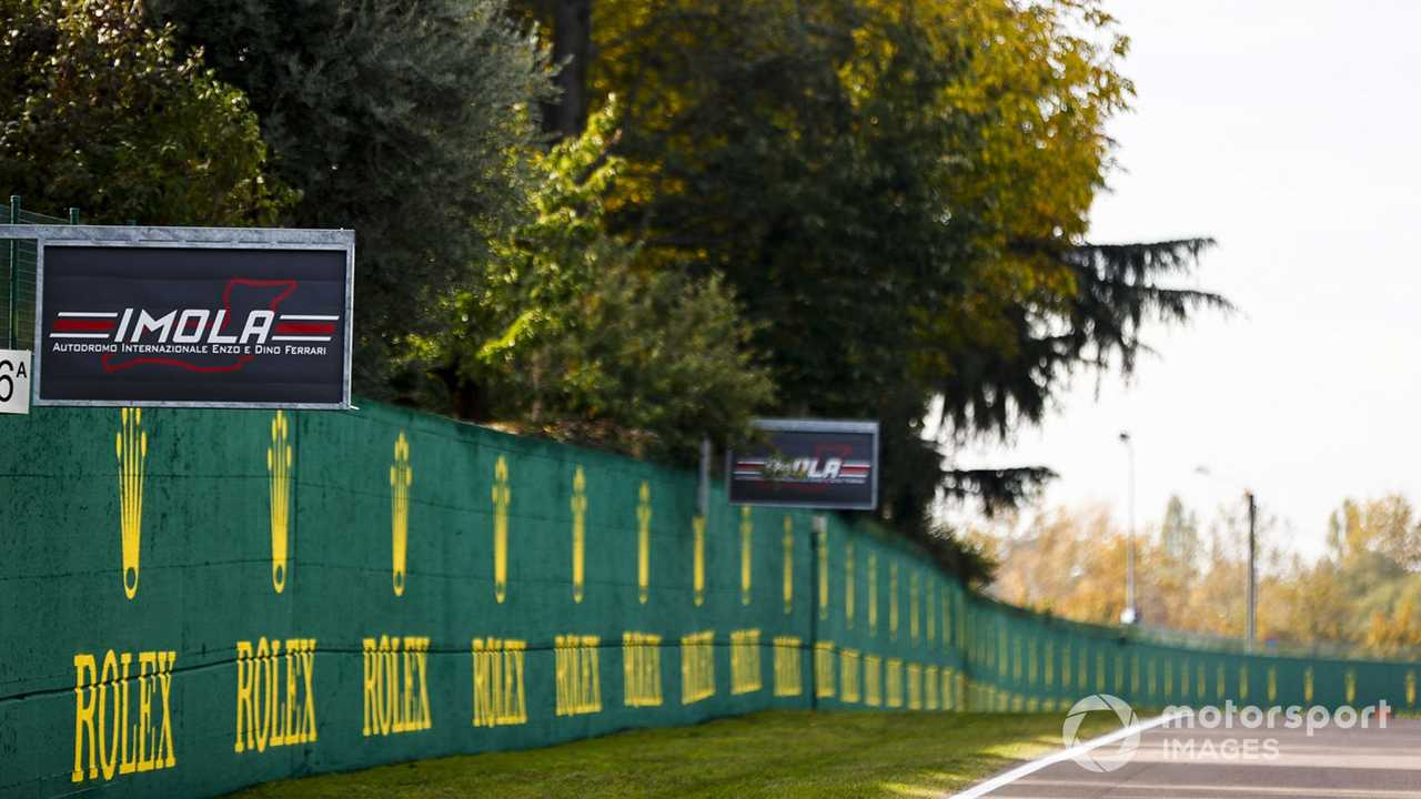 Imola and sponsor signage by the side of the track 2020