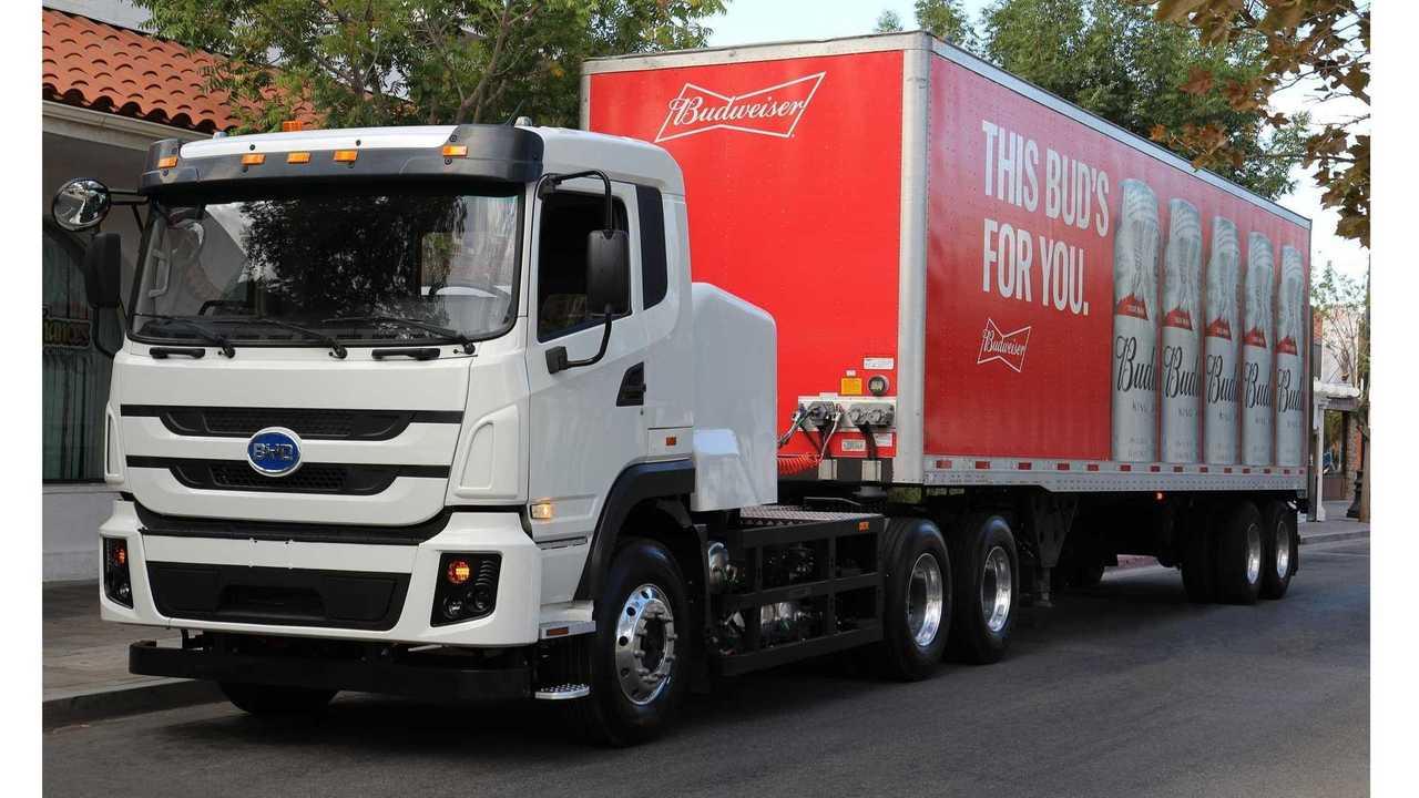 BYD electric truck in Anheuser-Busch fleet
