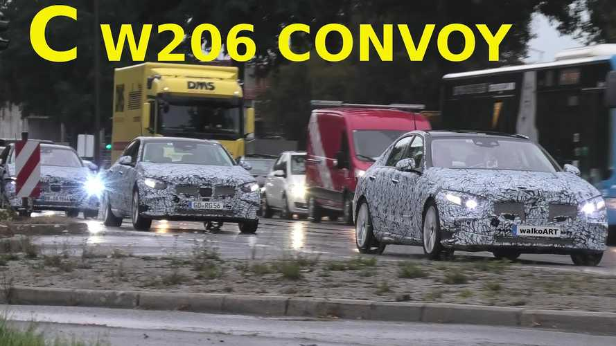 2021 Mercedes C-Class convoy caught covered in camouflage