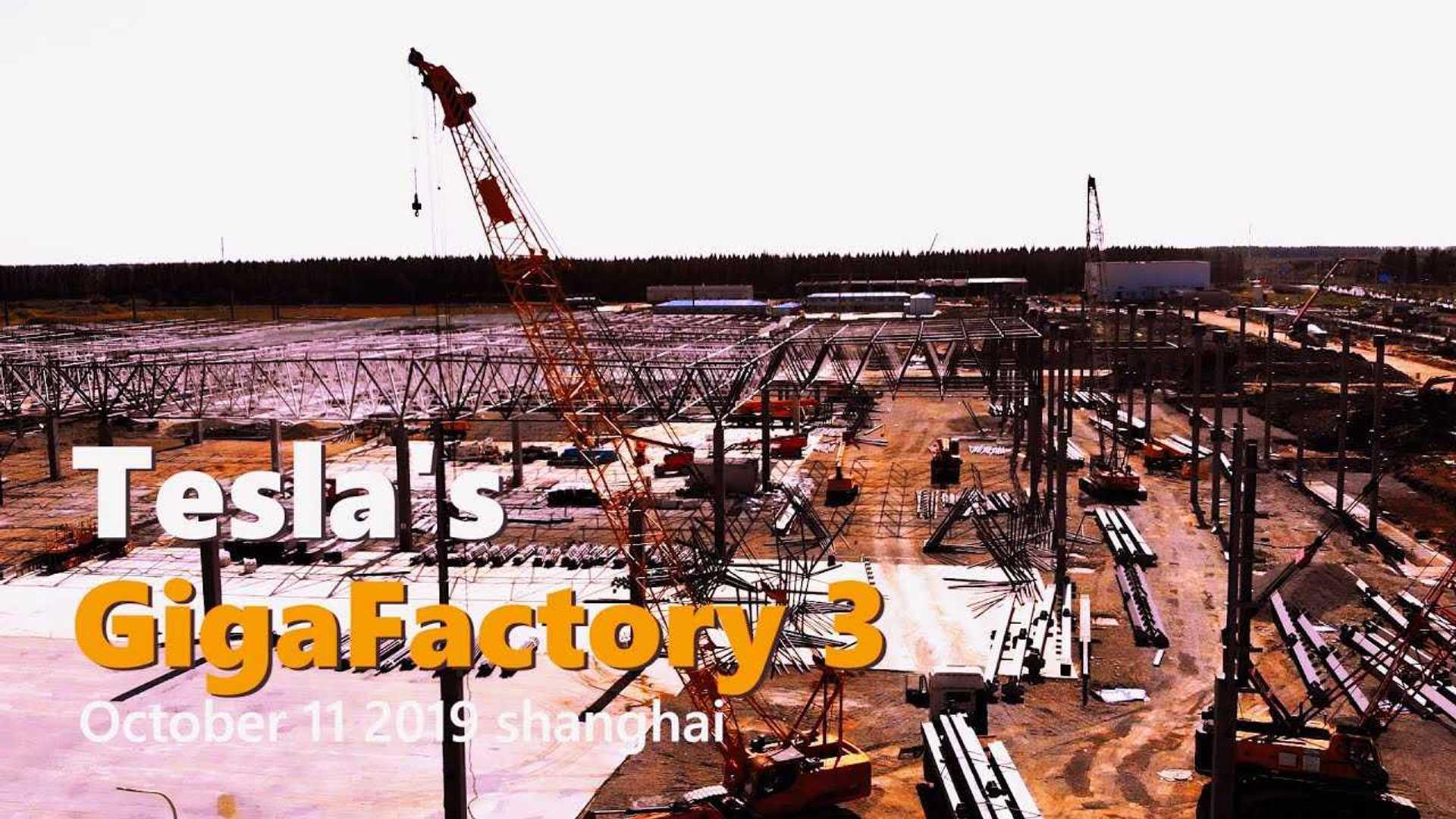 Tesla Gigafactory 3 Construction Progress October 11, 2019: Video
