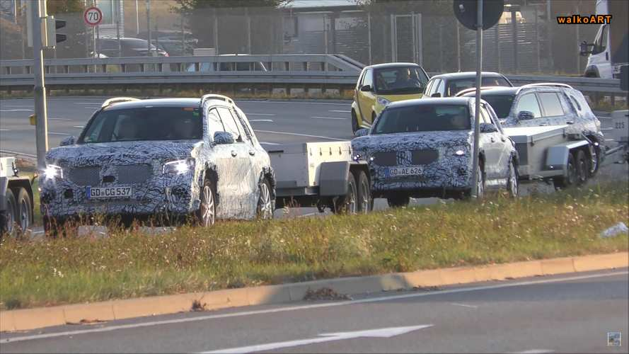 Mercedes-Benz GLB-Class fleet spied with trailers in tow