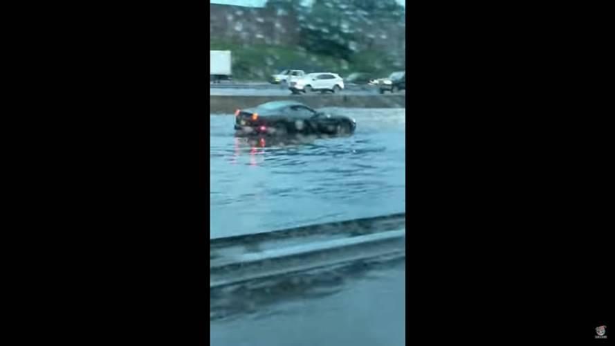 Ferrari California Caught In Flood