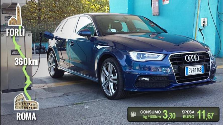 Audi A3 Sportback g-tron, la prova dei consumi