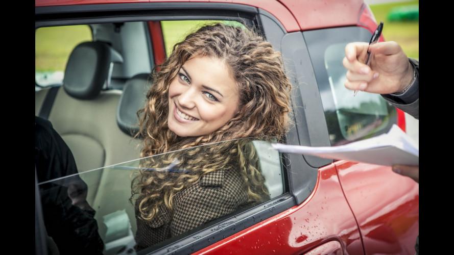 La Scuola di Guida Sicura con Miss Italia, a bordo della Fiat Panda