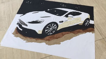 Aston Martin Vanquish art made from leftover bits of leather