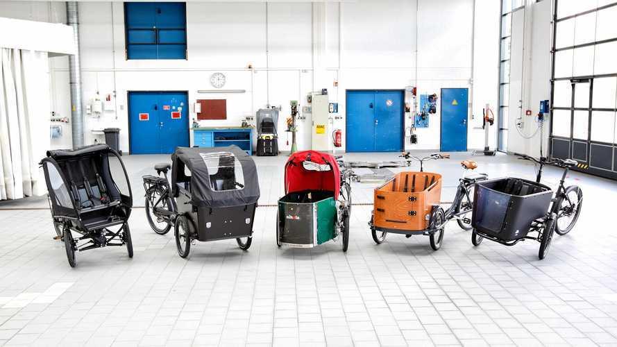 Fünf Lastenräder mit E-Bike-Technik im ADAC-Test