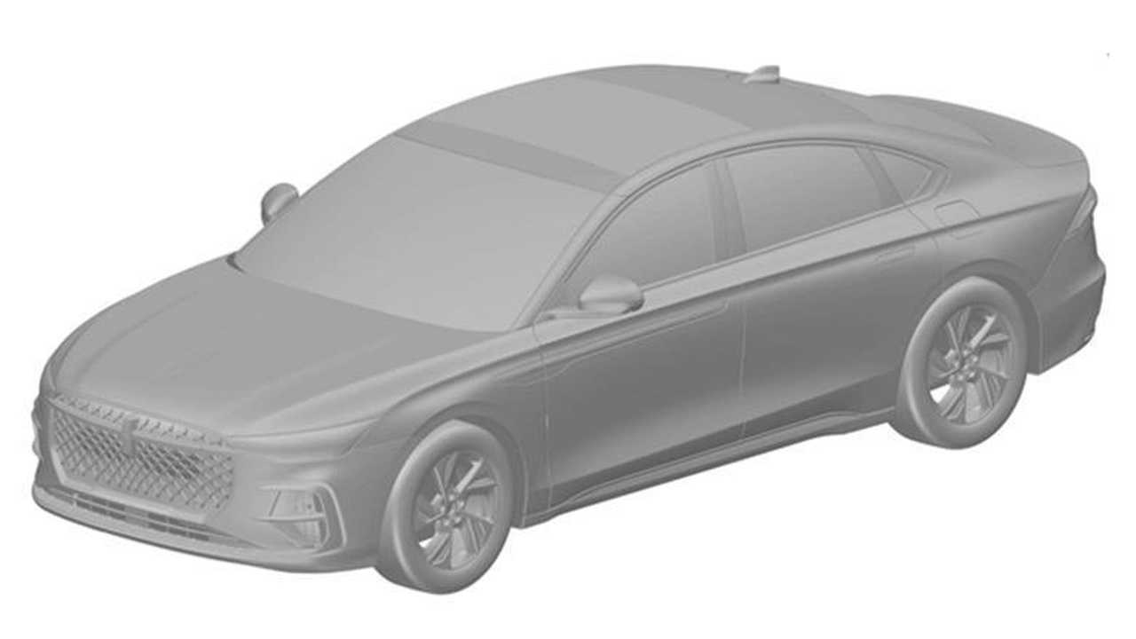 A patent photo showing the future Lincoln Zephyr sedan for China.