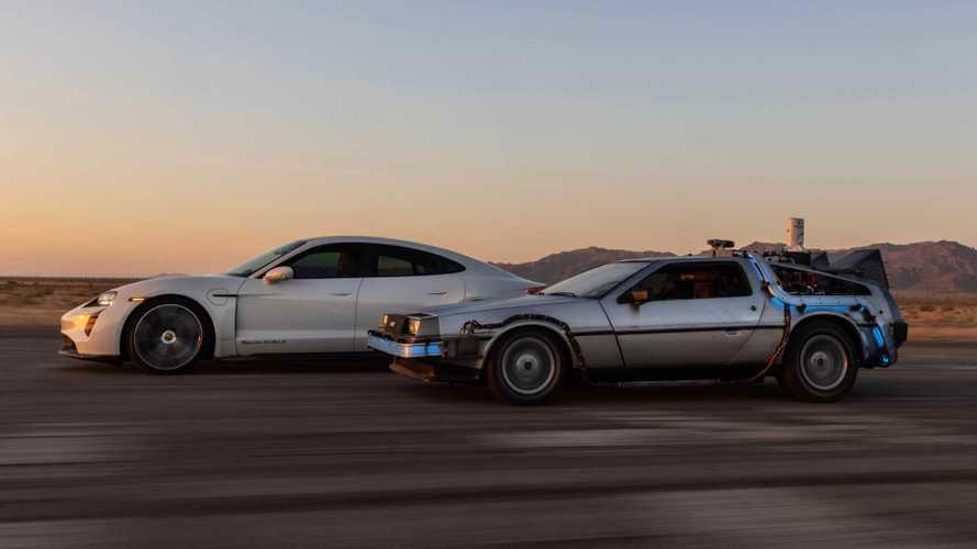 Porsche Celebrates BTTF Day With Taycan, DeLorean Using 1.21 Gigawatts