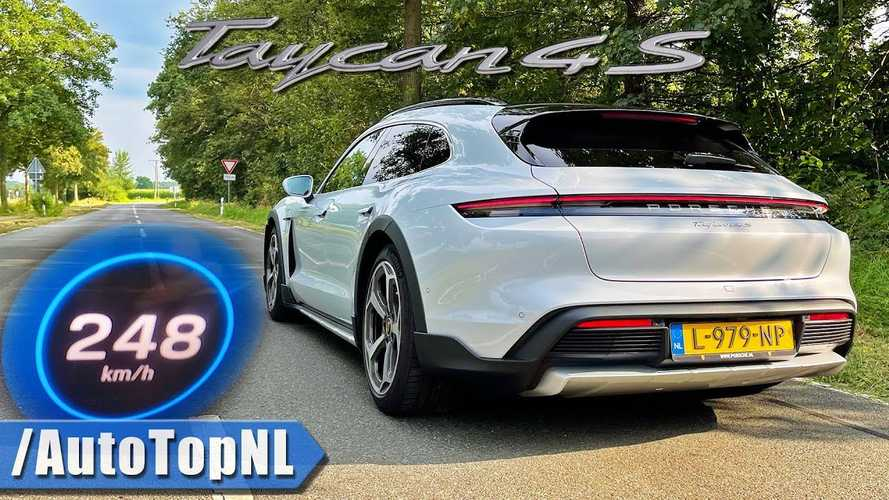 Watch Porsche Taycan 4S Cross Turismo Accelerate From 0-124 MPH