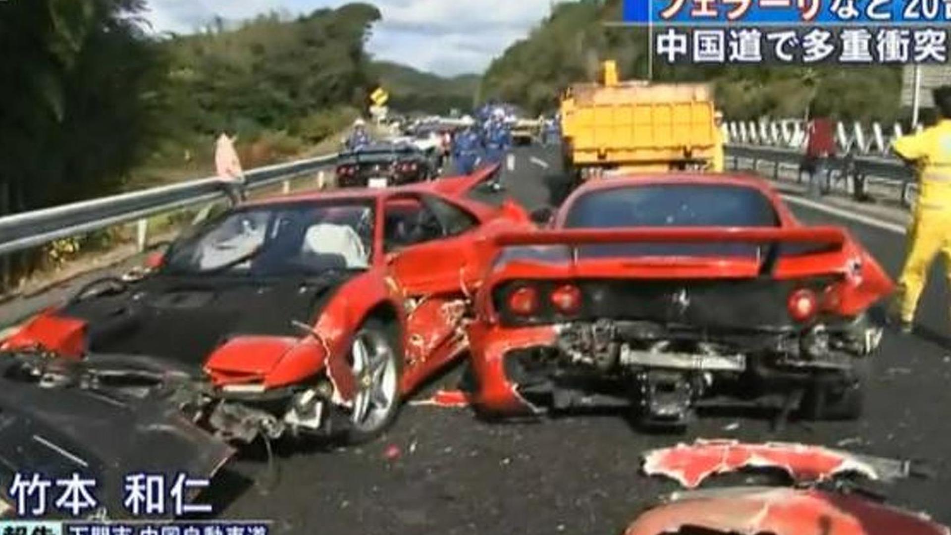 Japan Car Crash Wrecks 8 Ferraris 3 Mercedes 1 Lambo