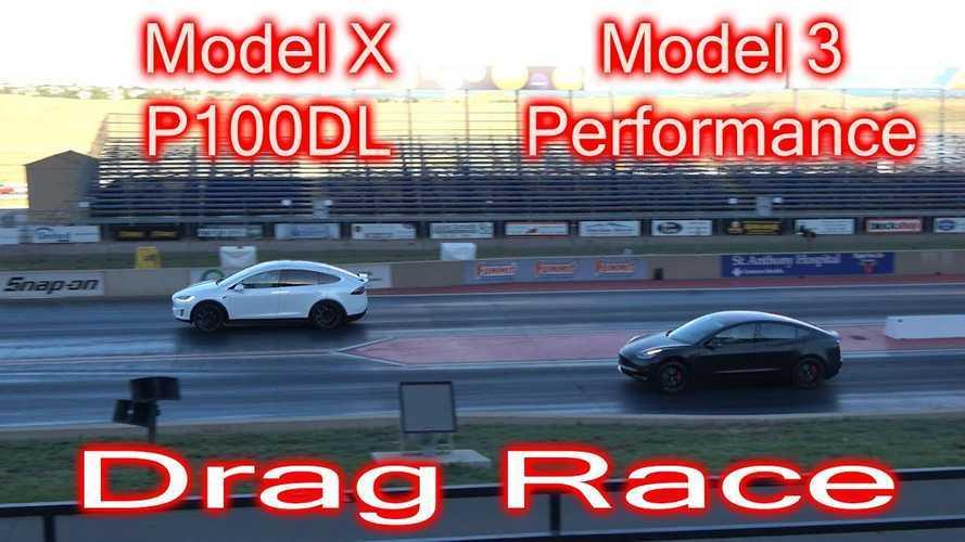 Tesla Model 3 Performance Races Model X P100D, Ford Falcon Drag Car