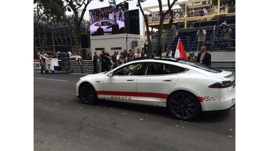 Tesla Model S Driven By Royalty At F1 Monaco Grand Prix
