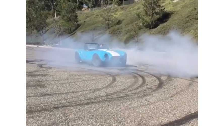 Converted Cobra With Tesla P85 Drive Unit Does Donuts, Wheelies - Video
