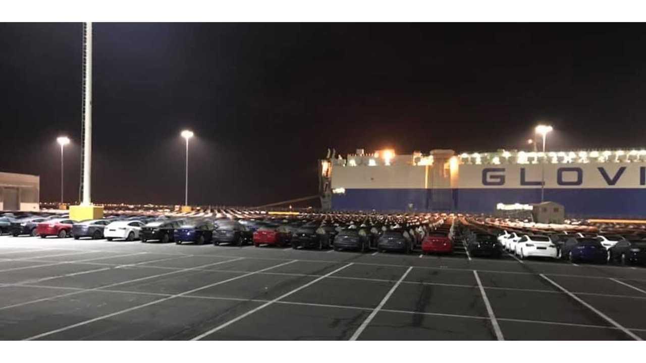 Huge Shipment Of Tesla Model 3s Ready To Board Big Ship For Europe