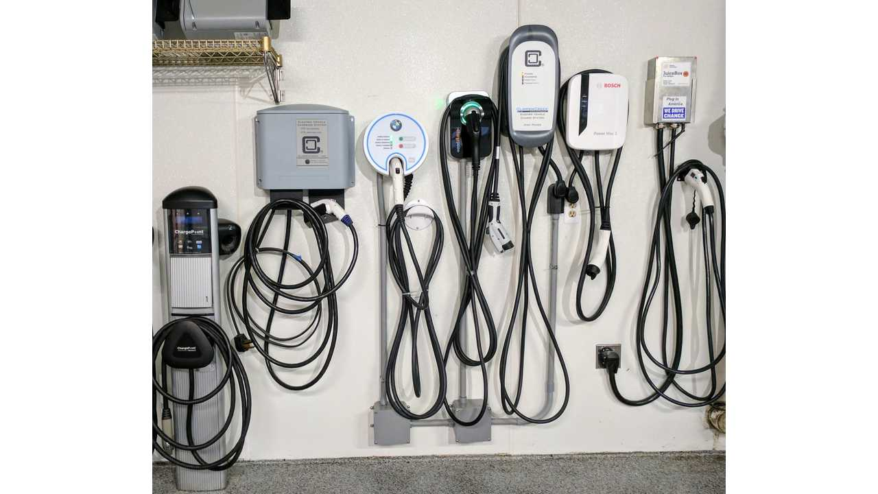 A variety of wall-mounted level 2 charging stations