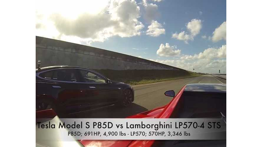 Tesla Model S P85D vs Lamborghini LP570-4 Super Trofeo Stradale - Race Video