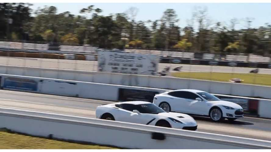 Tesla Model S P85D Races C7 Corvette Stingray - Video