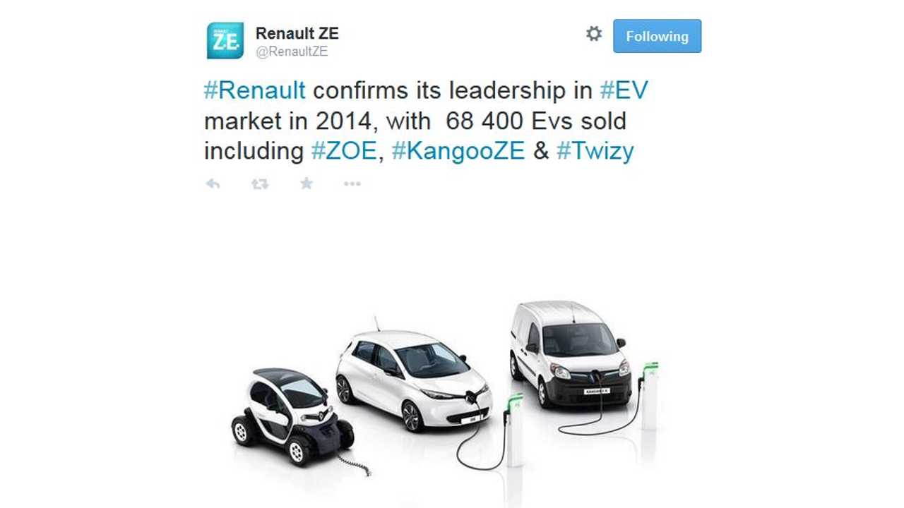 Renault #1 In Europe In 2014, 68,400 Electric Cars Sold So Far
