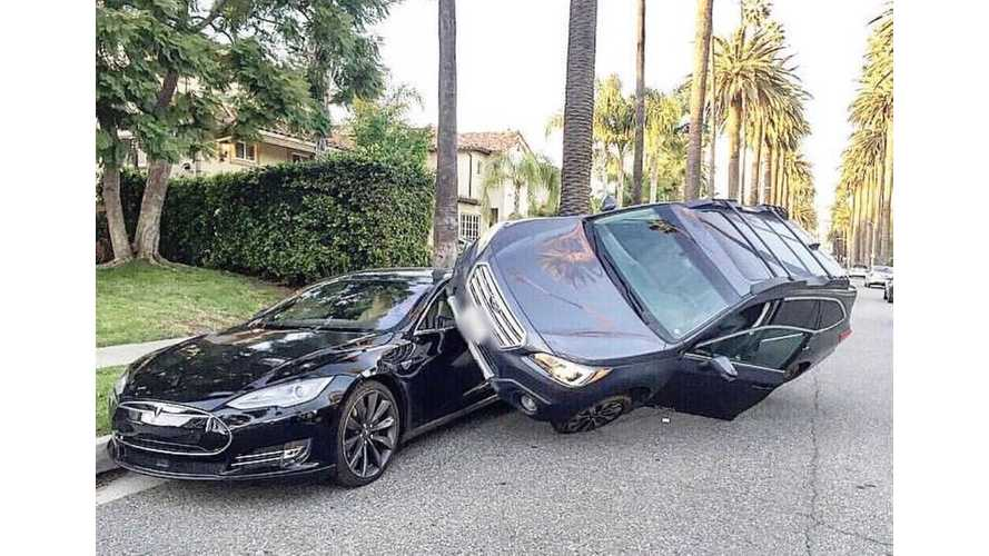 Wild & Crazy: Subaru Parks On Top Of Tesla Model S