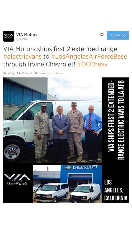 VIA Motors Delivers First 2 Electric Vans To LA Air Force Base