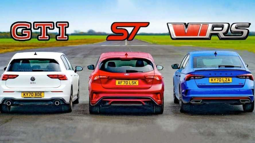 Vídeo: el VW Golf GTI desafía a los Ford Focus ST y Skoda Octavia RS
