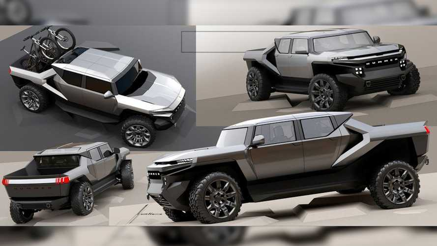 GMC Hummer EV Early Design Sketch Shows Truck With Futuristic Twist