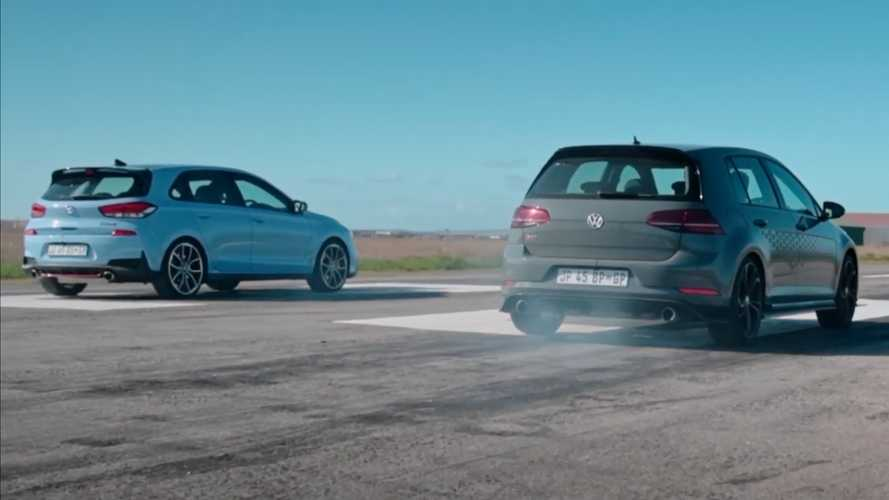 VW Golf GTI TCR Tries To Fight Off Hyundai i30 N In Drag Race