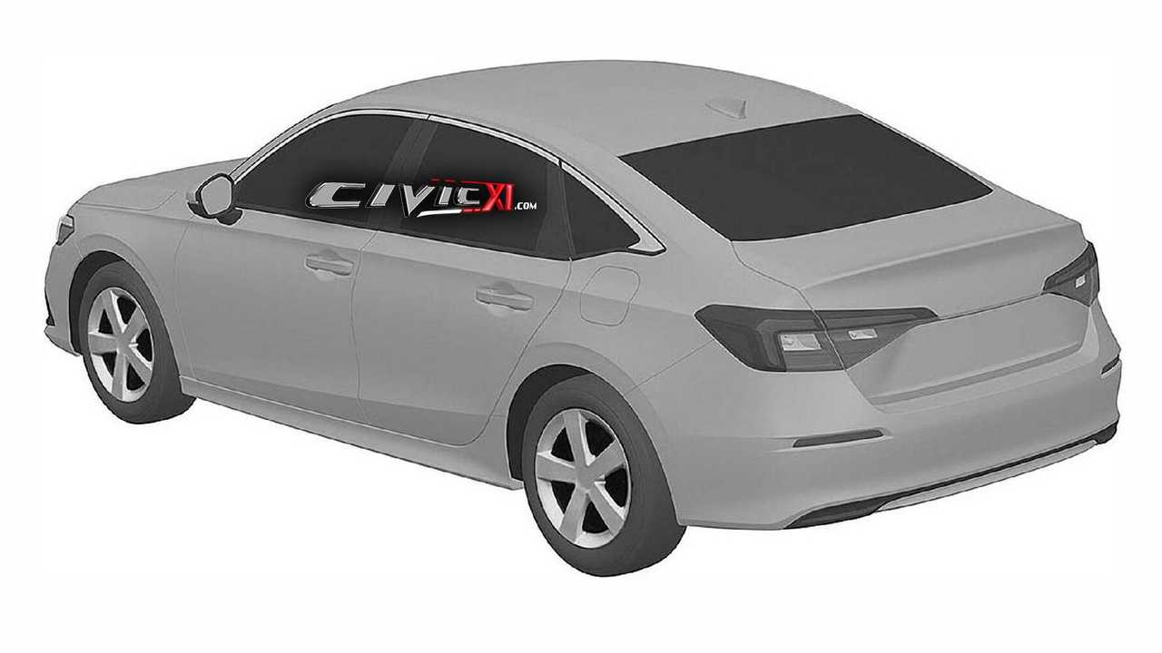 2022 Honda Civic Sedan rear view at patent office