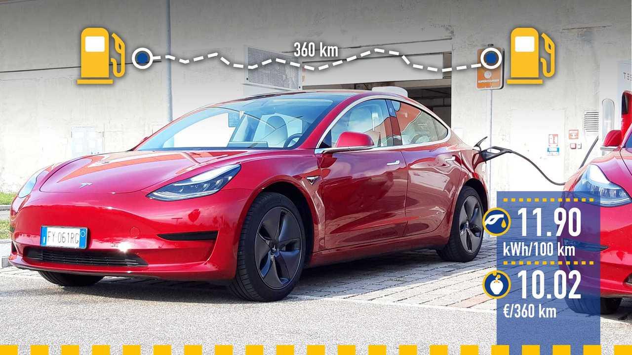 Tesla Model 3, la prova consumi