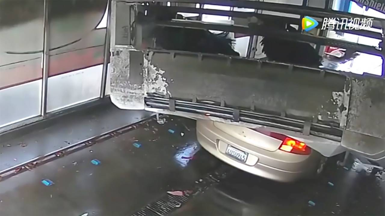 Car Gets Crushed In Car Wash