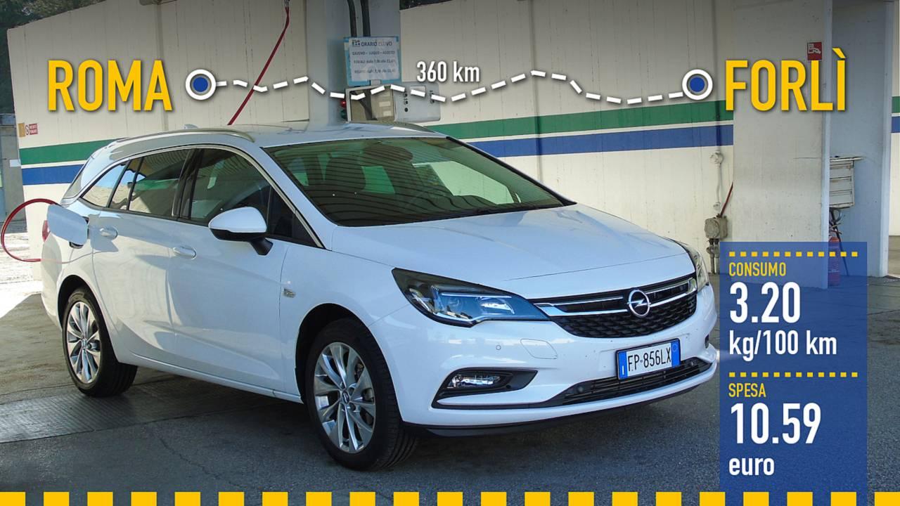 Opel Astra Sports Tourer metano, la prova consumi