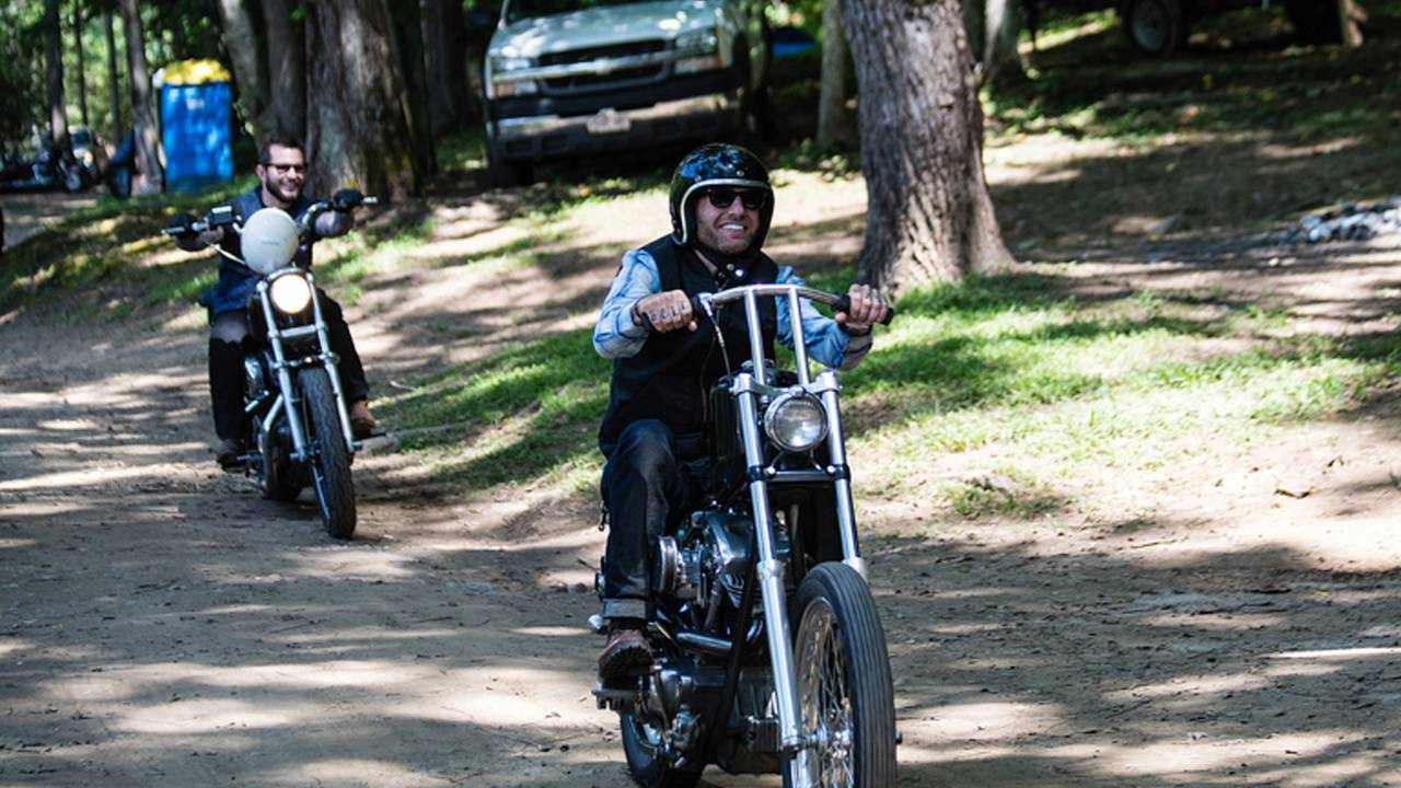 <em>No front brakes, skinny tires and a hand-shifted transmission can make for a challenging ride, especially off road.</em>