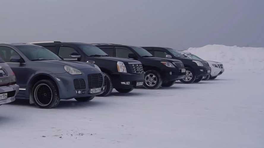 These SUVs Fight In Icy Tug-Of-War To See Which One's Tougher